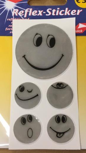 Reflex-Sticker Smiley silver
