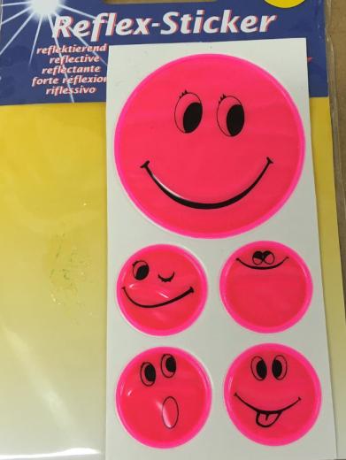 Reflex-Sticker Smiley pink