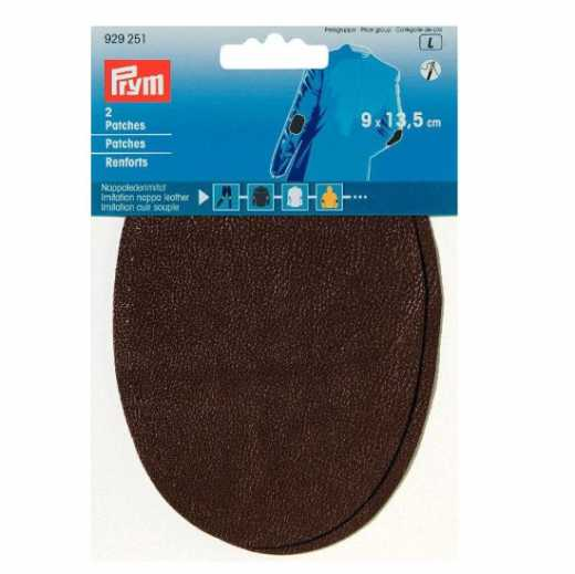 Faux Leather Patches - oval brown