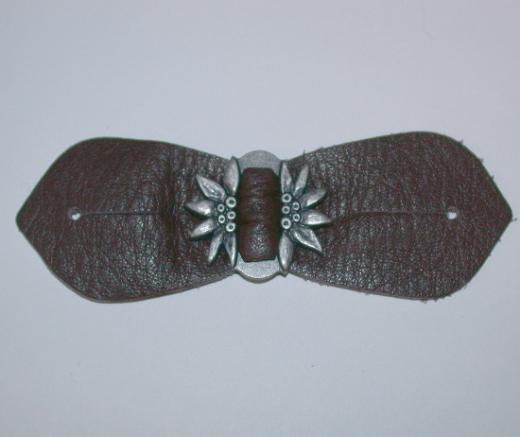 Riegel mit Edelweiss - Leder/Metall