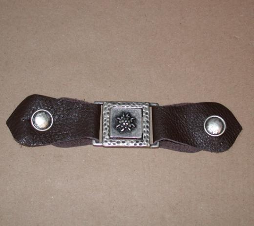 Trachtenschließe Leder - schwarz