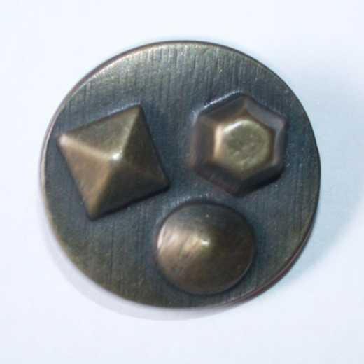 Knopf Metall - 25 mm - altmessing