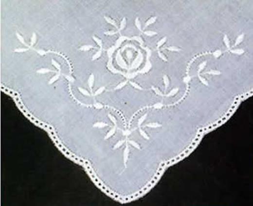 6 Lace Handkerchieves - round edge