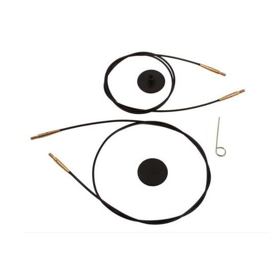 Knit Pro austauschbare Seile - SCHWARZ vergoldet-120cm