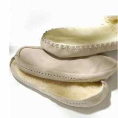 Leather Soles with Acrylic Fur - approx. 11,0 cm