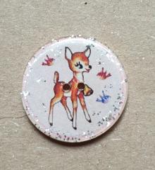 Knopf Bambi Glitzer rosa - 20 mm