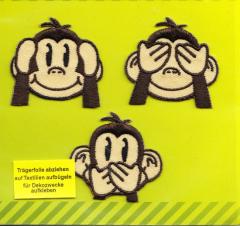 Applikation Die drei Affen