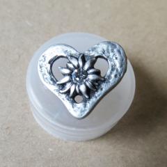 Knopf Herz mit Edelweiss - Metall
