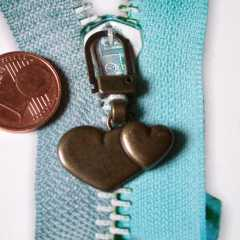 Zipper Pull Hearts antique brass