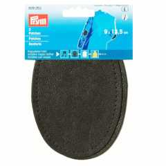 Faux Leather Patches - oval dark gray