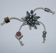 Applikation Edelweiss und Charms - Metall/Textil