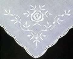6 Lace Handkerchieves - round edge