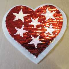 Applique with Flippable Sequins - Heart and Stars