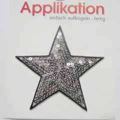 Applikation Pailettenstern - silber