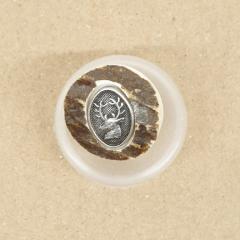 Knopf Hornimitat mit Hirschkopf - 20 mm